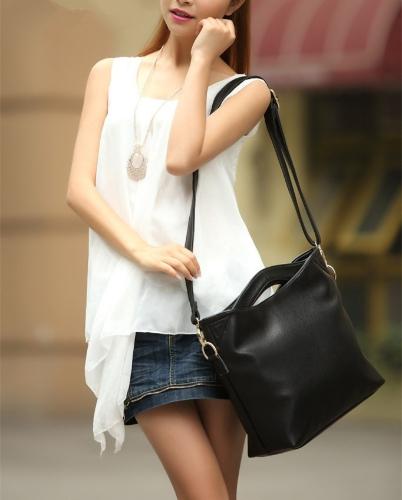 Nowe mody kobiet torebki specjalna Twin Top Uchwyty Krótki Shoulder Bag torba kurierska czarna