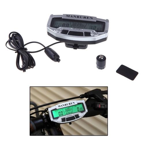 MANBUREN MS-602 b importiert Sensoren LCD mit Hintergrundbeleuchtung Tacho Kilometerzähler Fahrradcomputer Regenschutz