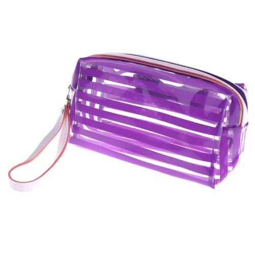 Jelly Cosmetic Bag Make Up Translucent Bath Sunbag Candy Color Purple H10644PU