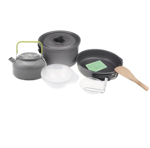 Открытый кемпинг горшок оксида алюминия набор, туризм, укладывая рюкзак пикник пикник посуда чайник кофе чайник установить все в одной 2-3