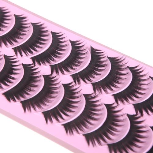 10 pares de pestañas postizas puro hecho a mano de espesor largo voluminoso falso pestañas