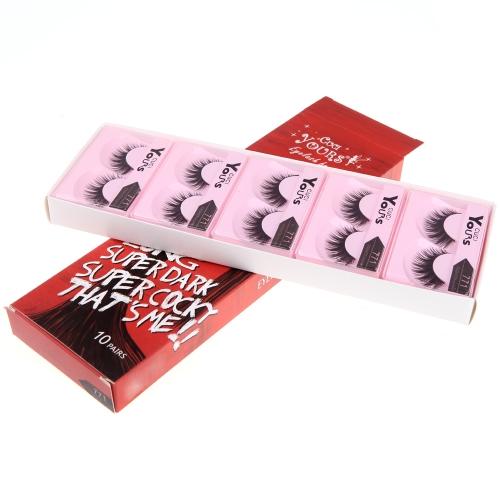 10 Pairs False Eyelashes Pure Hand-made Natural Long Voluminous Fake Lashes