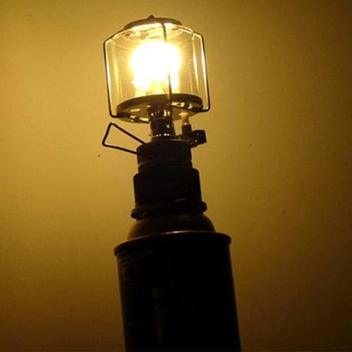 Mini portatile campeggio Lanterna Gas tenda luce lampada torcia appesa vetro lampada camino butano 80 LUX