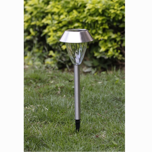 Solar Power Outdoor Garden Stainless Steel LED White Light Lamp Landscape Lawn Path Yard Park