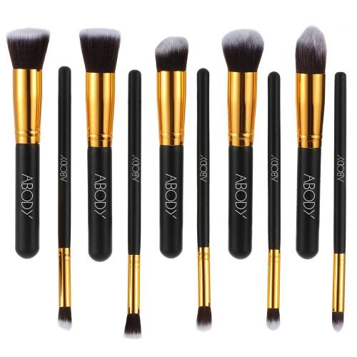 bea9e992e802 Abody 10Pcs Professional Makeup Brush Kit Cosmetic Set Golden Ferrule  Powder Eye Shadow Concealer Wood Brushes Black