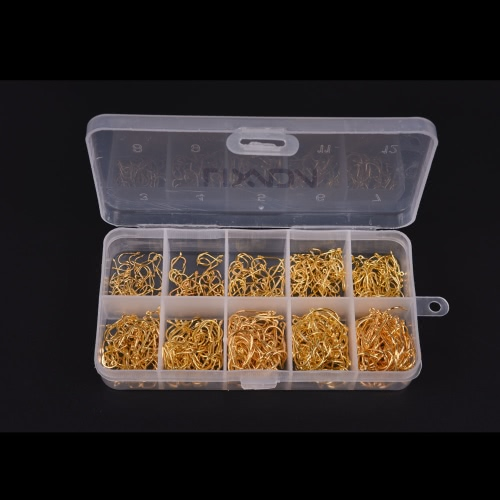 600pcs Fish Jig Hooks with Hole Fishing Tackle Box 3# -12# 10 Sizes Carbon Steel Gold Golden