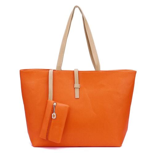 Nueva moda mujer dama bolso bandolera PU cuero bolsa naranja