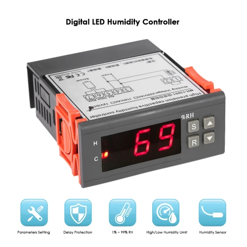 KKmoon 10A 12V Mini Digital Air Humidity Control Controller Measuring Range 1% ~ 99% with Sensor