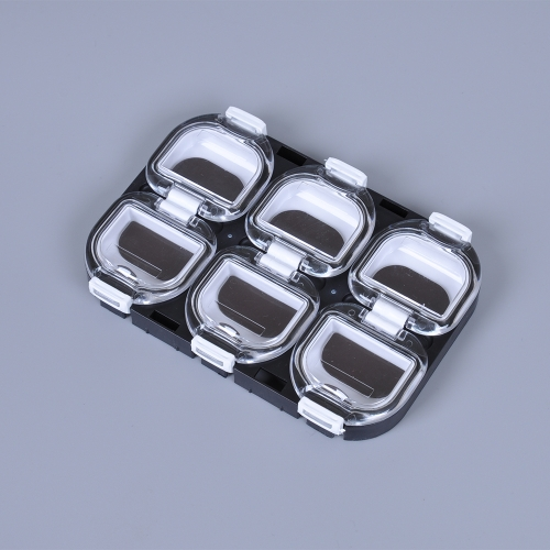 Mini Fishing Tackle impermeabile  cassa   scatola di immagazzinaggio del gancio di pesca con il magnete 6 scomparti nero