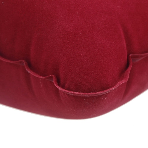 Double Sided Flocking Inflatable Pillow Suede Fabric Cushion Camping Travel Outdoor Office Plane Hotel Portable Folding Burgundy