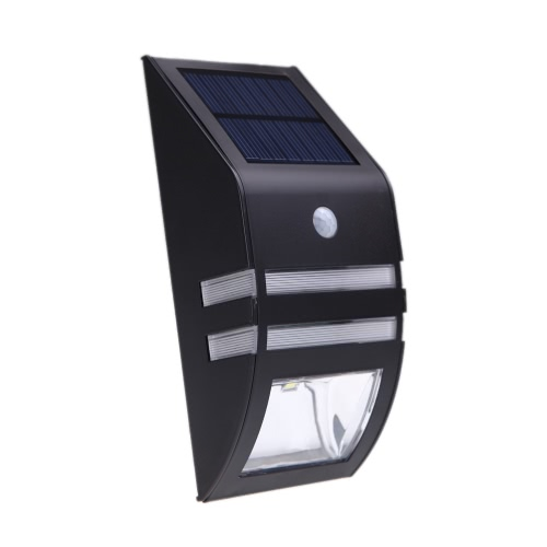 Solar-powered Light with 2 SMD LED Polycrystalline Solar Panel PIR Sensor Rechargeable Water-resistant Environmental-friendly for Pathway Outdoor Stair Step Garden Yard Black