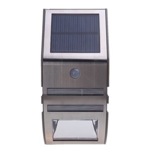 Solar-powered Light with 2 SMD LED Polycrystalline Solar Panel PIR Sensor Rechargeable Water-resistant Environmental-friendly for Pathway Outdoor Stair Step Garden Yard Silver