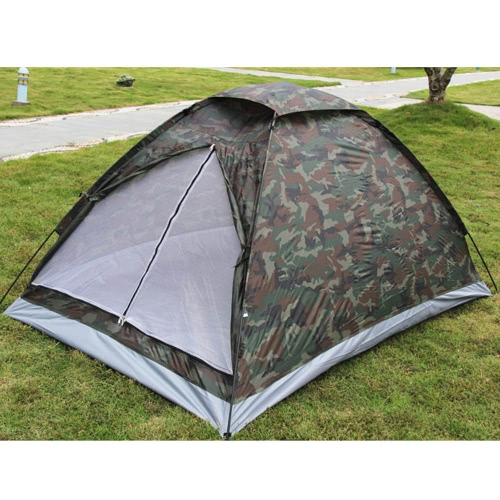 Lixada 2 Persons Camping Tent Single Layer Waterproof Outdoor Portable with Carry Bag Camouflage