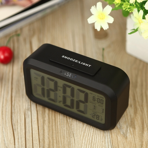 Anself LED Digital Alarm Clock Repeating Snooze Light-activated Sensor Backlight Time Date Temperature Display Black