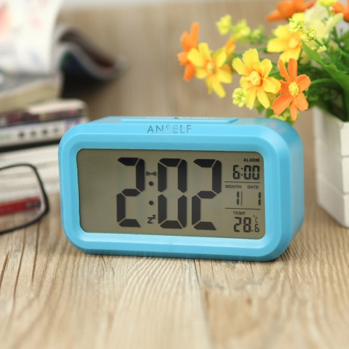 Anself LED Digital Alarm Clock Repeating Snooze Light-activated Sensor Backlight Time Date Temperature Display Blue