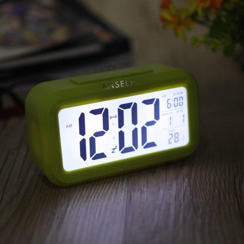 Anself LED Digital Alarm Clock Repeating Snooze Light-activated Sensor Backlight Time Date Temperature Display Green
