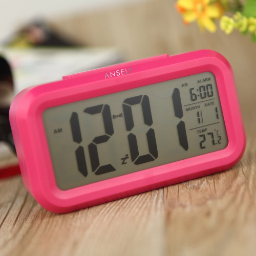 Anself LED Digital Alarm Clock Repeating Snooze Light-activated Sensor Backlight Time Date Temperature Display Rose Red