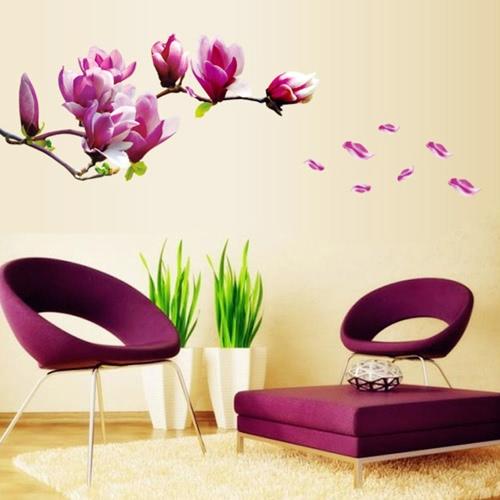 Beautiful Mangnolia Flowers Removable Wall Art Decals Vinyl Stickers  Wallpaper Mural