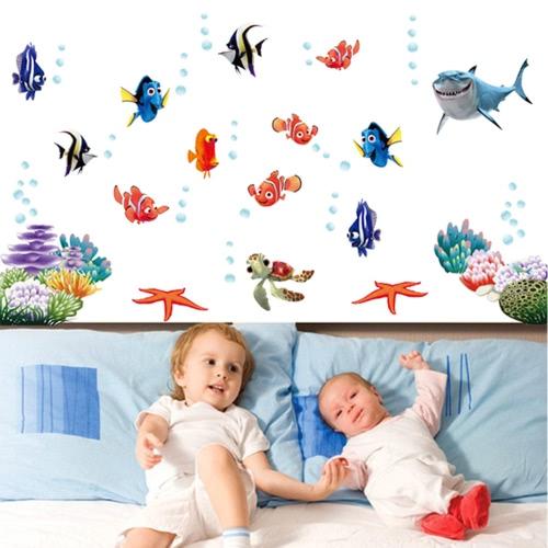 Unterwasser-Welt verschiedene Fische Ozean DIY Wandsticker Tapete Art Decor Wandbild Zimmer Decal