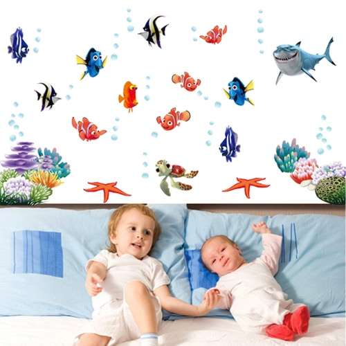 Mondo subacqueo vari pesci Ocean DIY Wallpaper Wall Stickers Art Decor murale Camera Decal