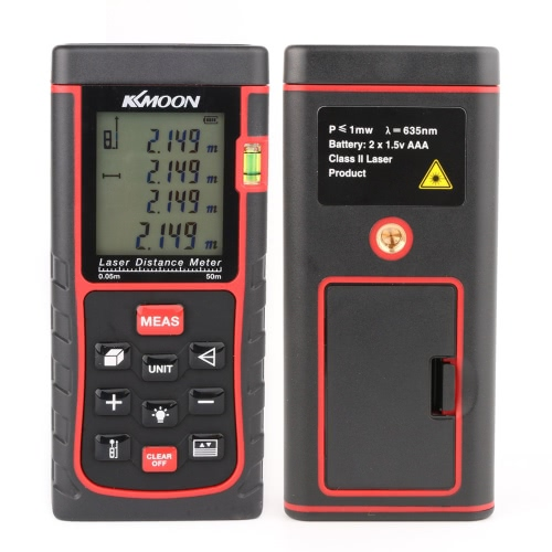 KKmoon RZE-50 50m/164ft Digital Laser Distance Meter Range Finder Measure Distance Area Volume with Bubble Level