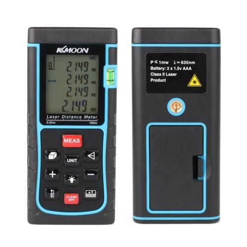 KKmoon RZE-100 100m/328ft Digital Laser Distance Meter Range Finder Measure Distance Area Volume with Bubble Level