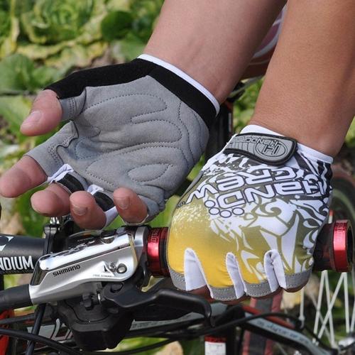 スポーツ手袋半分指のレース乗馬道モーター サイクリング自転車イエロー XL