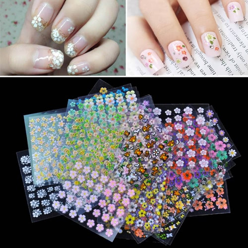 50 Sheet 3D Mix Color Floral Design Nail Art Stickers Decals Manicure Beautiful Fashion Accessories Decoration