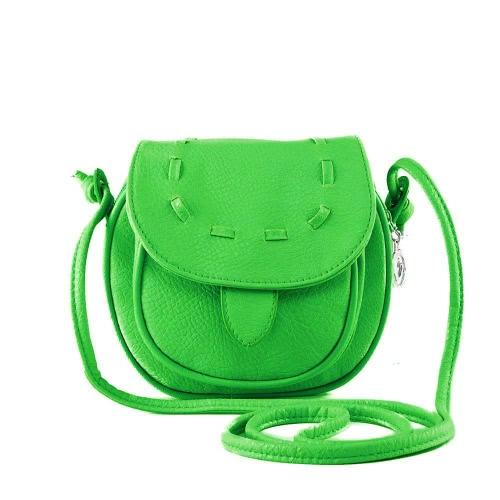 Nueva moda mujer bandolera Mini PU cuero Messenger bandolera lazo bolso verde lima