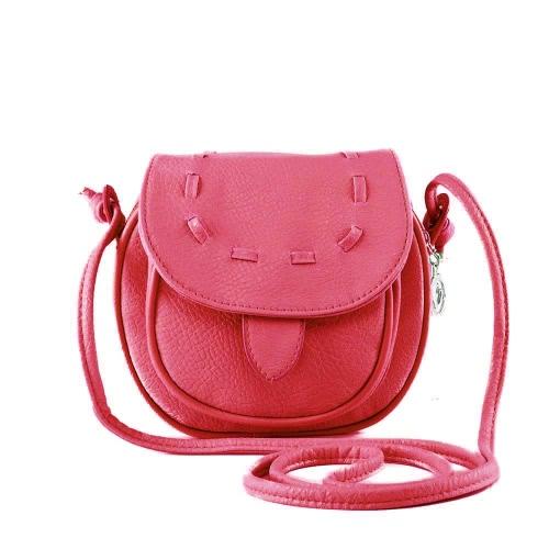 Nueva moda mujeres Mini bolso PU cuero Messenger bandolera lazo bolso rosa