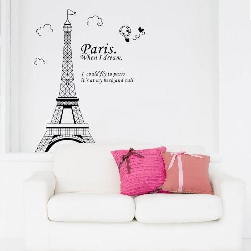 Romantische Paris Eiffelturm Schöne Aussicht auf Frankreich einfache Abnehmbare DIY Wandaufkleber Zimmer Kunstdekor für Kinder