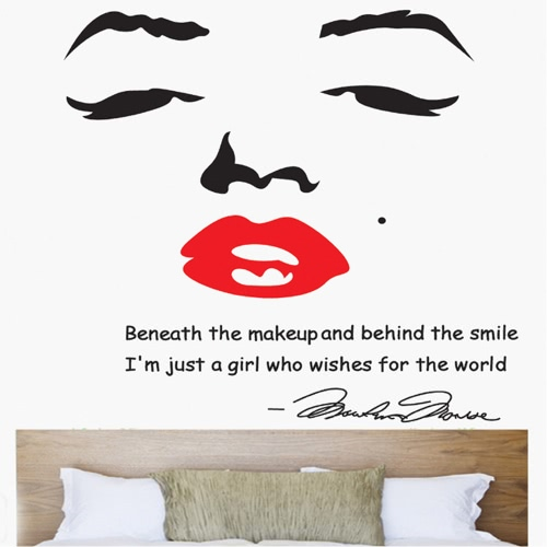 Portrait of Marilyn Monroe DIY Wall Wallpaper Stickers Art Decor Mural Room Decal