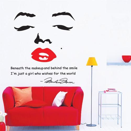 Портрет Мэрилин Монро DIY Обои Стикер стены Художественный Декаль Стенное украшение для комнаты