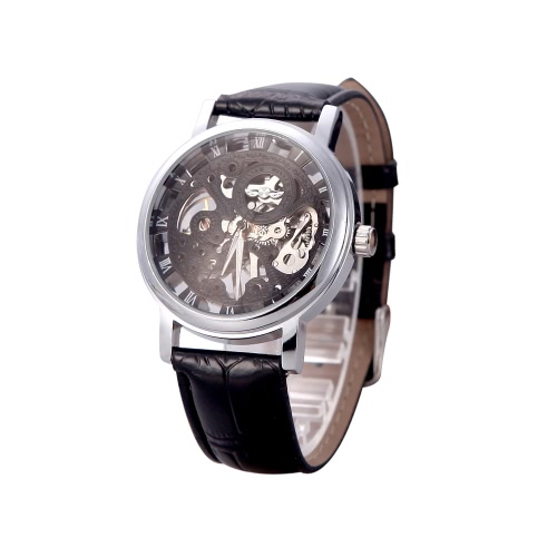 Brilliant Skeleton Dial Hand-winding Mechanical Sport Watch for Men Hollow Transparent Dial with Leather Band Strap Black