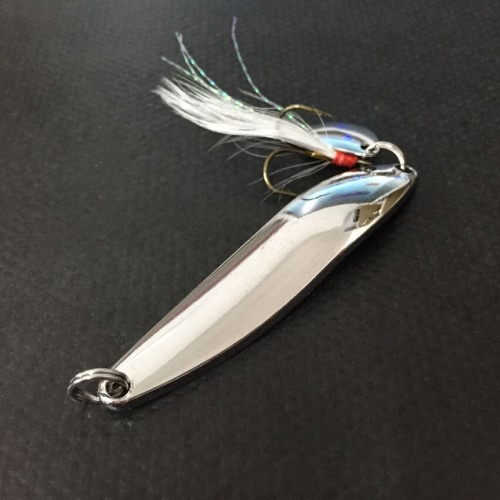 Lixada 4PCS Metal Fishing Lure Hard Baits Sequins Spoon Noise Paillette with Treble Hook 5-7-10-13g