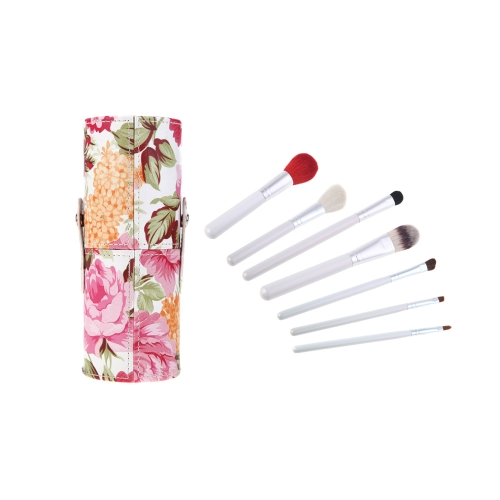 7st. professionelle Make-up Pinsel Kosmetik Set Brush Kit Make-up Tool mit Blumen Muster Cup Holder Case rot