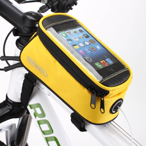 Roswheel Cycling Bike Bicycle Front Top Tube Frame Bag Pouch Transparent PVC with Audio Extension Line for 4.2