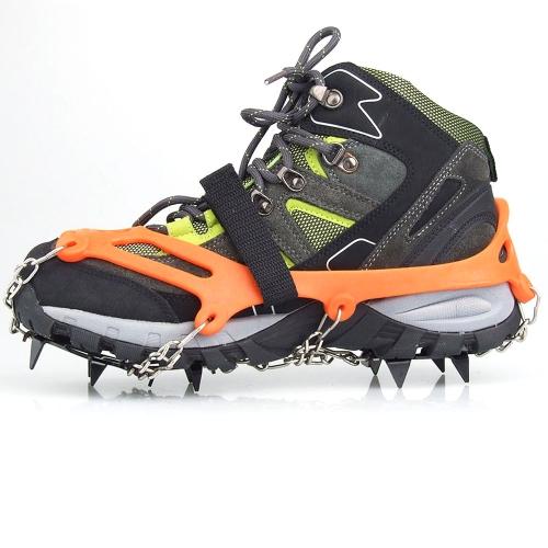 1 par 12 dientes garras crampones antideslizantes zapatos cubren acero inoxidable cadena nieve de hielo al aire libre de esquí senderismo escalada Orange