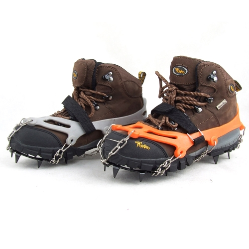 Lixada 1 Pair 12 Teeth Claws Crampons Non-slip Shoes Cover Stainless Steel Chain Outdoor Ski Ice Snow Hiking Climbing