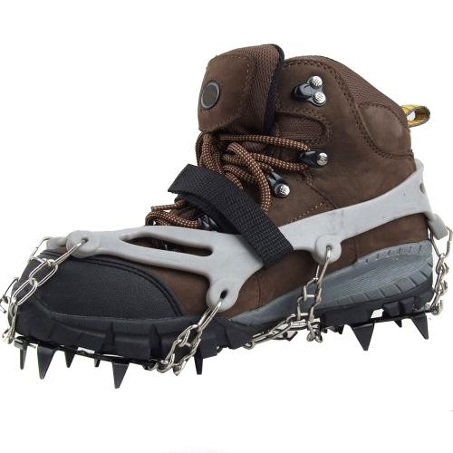 1 coppia 12 denti artigli ramponi antiscivolo scarpe coprono in acciaio inox catena all'aperto sci ghiaccio neve escursionismo arrampicata grigio