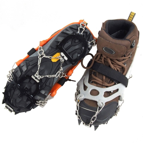Lixada 12 Teeth Claws Crampons Non-slip Shoes Cover Stainless Steel Chain Outdoor Ski Ice Snow Hiking Climbing (Pack of 2)