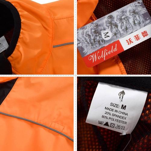 WOLFBIKE Cycling Jersey Men Riding Breathable Jacket Cycle Clothing Bike Long Sleeve Wind Coat Orange XL Image