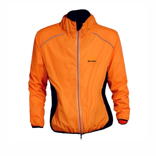 WOLFBIKE Ciclismo Jersey uomini guida giacca traspirante ciclo abbigliamento bici lungo manica vento cappotto arancione XL