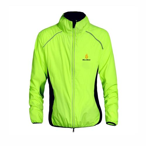 WOLFBIKE Ciclismo Jersey uomini guida giacca traspirante ciclo abbigliamento bici lungo manica vento cappotto verde XXL