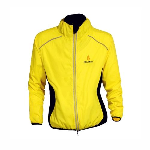 長い間透湿ジャケット サイクル衣類自転車に乗って WOLFBIKE サイクリング ジャージー男性スリーブ風コート イエロー 3 xl