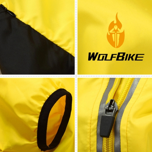 WOLFBIKE Cycling Jersey Men Riding Breathable Jacket Cycle Clothing Bike Long Sleeve Wind Coat Yellow XL Image