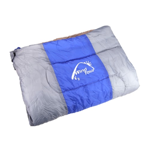 Lixada Wind Tour Thermal Adult Sleeping Bag Autumn Winter Envelope Hooded Outdoor Travel Camping Water Resistant Thick 1.3kg Blue