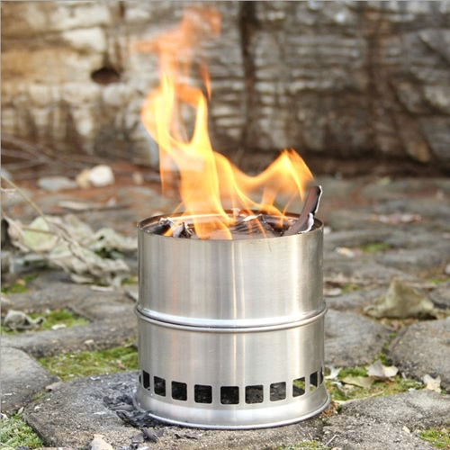Portable Stainless Steel Lightweight Wood Stove Solidified Alcohol Stove Outdoor Cooking Picnic BBQ Camping