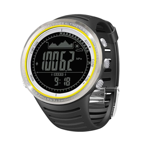 Sunroad FR802B 5ATM Waterproof Altimeter Compass Stopwatch Fishing Barometer Pedometer Outdoor Sports Watch Multifunction
