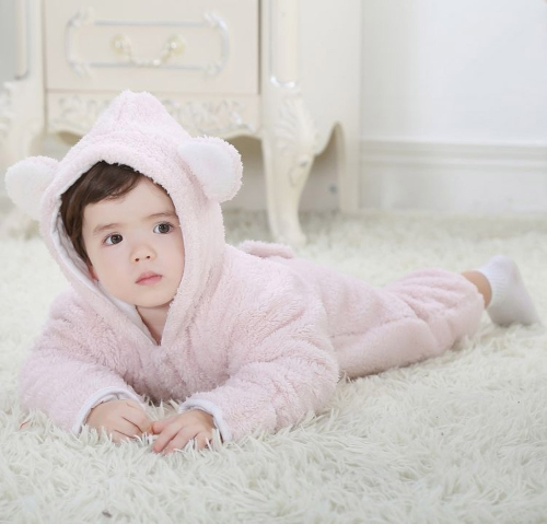 Unisex One-Piece Warm Thick Fleece Siamese Romper Jacket Coat for Baby Boy Girl Kids Toddler Animal Style Autumn & Winter Open Legs Pink